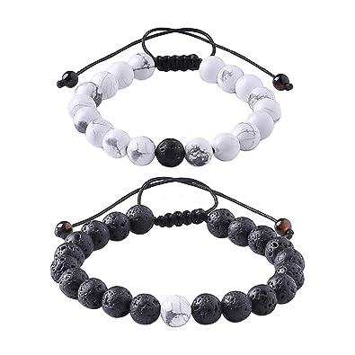 sans précédent prix plancher arrive MAOCEN Distance Relationship Bracelet for Lover-2pcs Black Lava Rock &  White Howlite Stone 8mm Beads