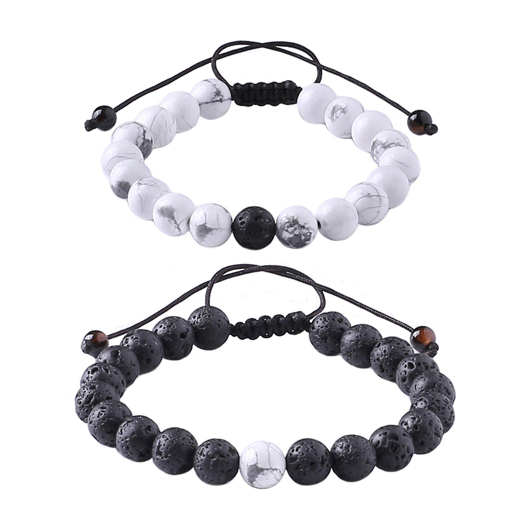 Distance Relationship Bracelet for Lover-2pcs Black Lava Rock & White Howlite Stone 8mm Beads (Braided)