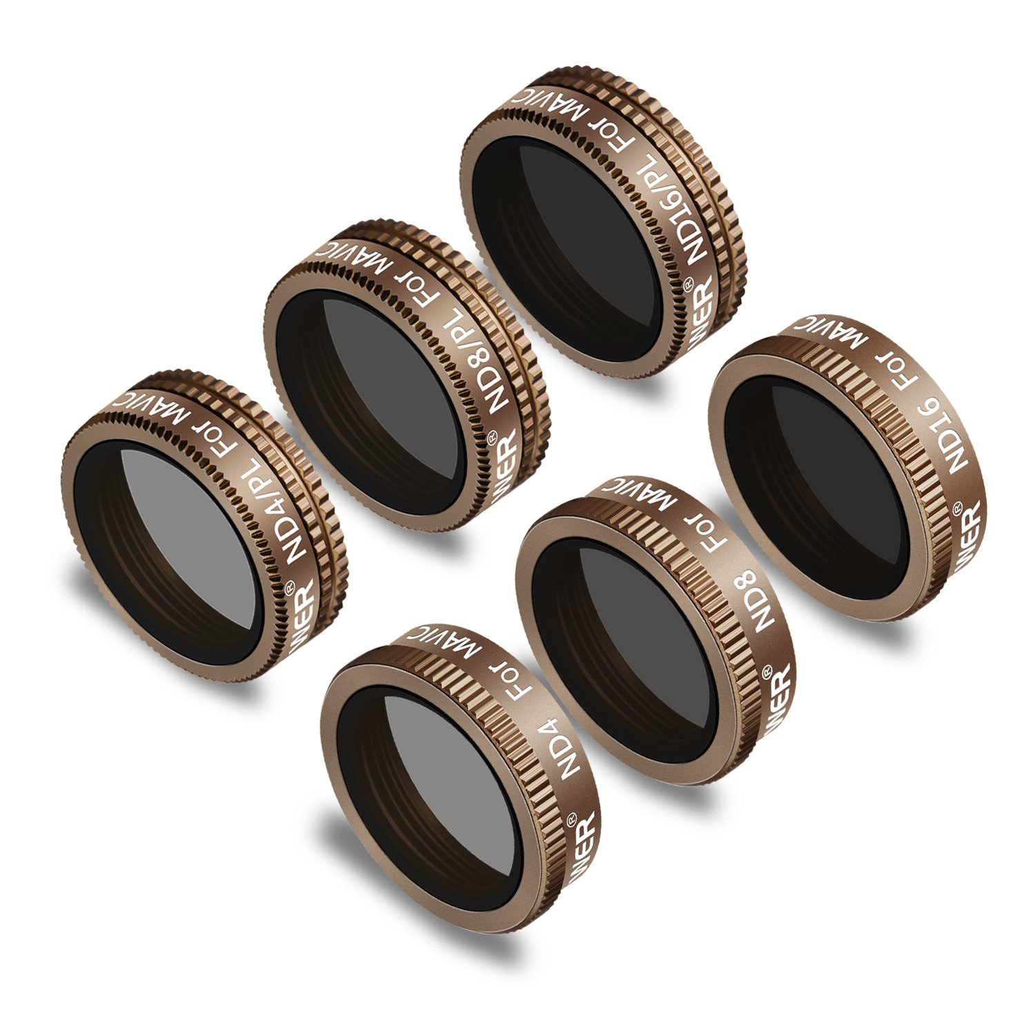 Neewer 6 Pieces Pro Lens Filter Kit for DJI Mavic Air Drone Quadcopter Includes: ND4, ND8, ND16, ND4/PL, ND8/PL, ND16/PL, Made of Multi Coated Waterproof Aluminum Alloy Frame Optical Glass(Gold) by Neewer