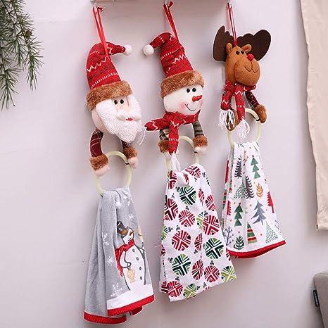 jpjbox Navidad Decoraciones Navidad Ropa servilleta círculo casa Colgante Toalla Anillo Creativo Vestido de Papá Noel, muñeco de Nieve, Ciervo Navidad Serie ...