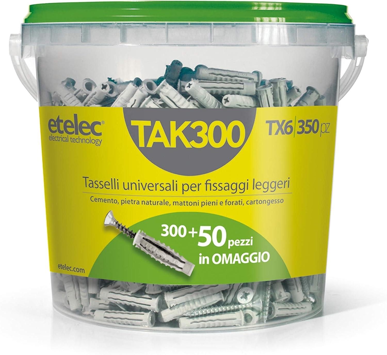 Etelec TAK300 Seau 300 Chevilles universelles TX6 Nylon 6 x 30 mm Vis 4,5 x 40 mm
