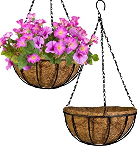 PACDONA 2 Pack Hanging Pots for Plants with Coco Coir Liner 8'' Round Wire Hanging Planter Holder with Chain Decor Porch Garden Flower Pot Indoor Outdoor Watering Hanging Basket for Plants