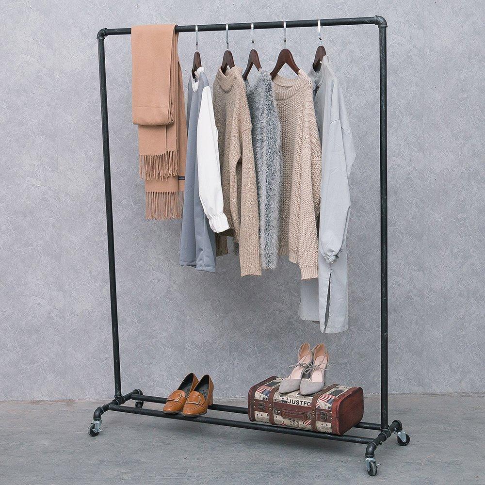 Mbqq Industrial Pipe Clothing Racks On Wheels Heavy Duty