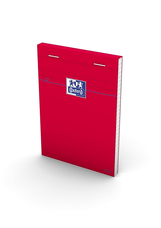 Oxford 100106975 Lot de 10 Blocs agraf/és petits carreaux 5 x 5 A7 160 pages 80 g Rouge