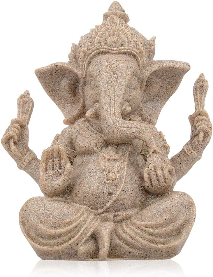 "CYYKDA Handmade Ganesha Statues, Elephant Buddah Statute, Buddha Statue, Ganesh Statue, Indian Elephant Decoration for Home, Ganesha Lord of Success Blessing Decor 2.9""x2.3""x3.7"" (Mini)"