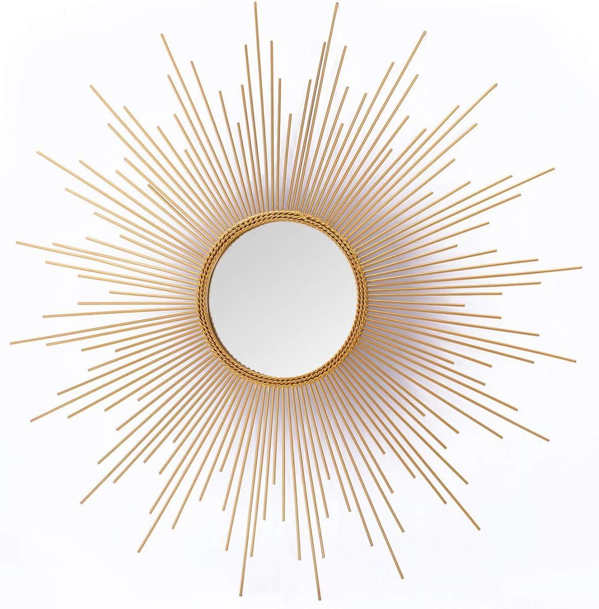 Asense Home Collection Sunburst Mirror, Classic Metal Decorative Wall Mirror (Sunburst Gold)