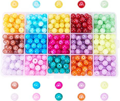 PandaHall 1500pcs 10 Colors Round Mixed Baking Painted Crackle Glass Pearl Bead Sets For Jewellery Making