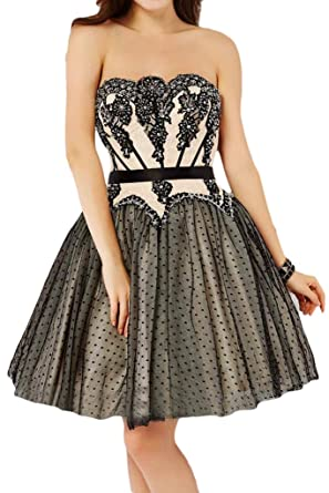 Sunvary Princess Lace and Tulle Cocktail Homecoming Prom Dresses-6-Black