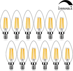 12-Pack Dimmable E12 LED Candelabra Bulbs 40Watt Equivalent, 2700K Warm White, 450Lumens, 4W B11 Vintage Chandelier Light Bulbs, LED Filament Clear Glass Candle Lamp for Ceiling Fan Home Decor