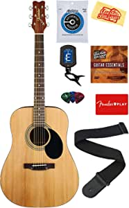 Jasmine S35 Acoustic Guitar - Natural Bundle with Strings, Strap, Tuner, Picks, DVD, and Austin Bazaar Polishing Cloth
