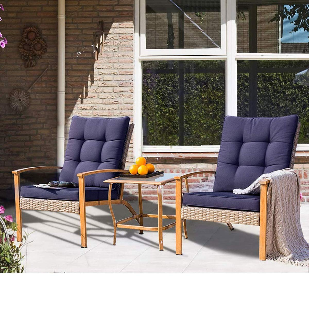 SUNCROWN Outdoor Furniture 3-Piece Patio Bistro Set Grey Wicker Patio Furniture W Wood-Grain Arm Rest – Two Chairs with Glass Coffee Table Nautical Navy Cushion