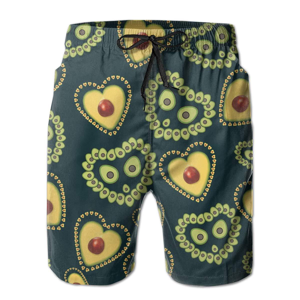 MikonsuAvocado Lover Avocado Heart Seed Mens Beachwear Surfing Boardshorts with Pocket