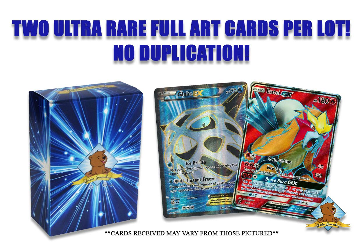 Cards Will be Over 150 HP No Duplication Pokemon Card Lot of 2 Ultra Rare Full Art Cards Includes Groundhog Deck Box!