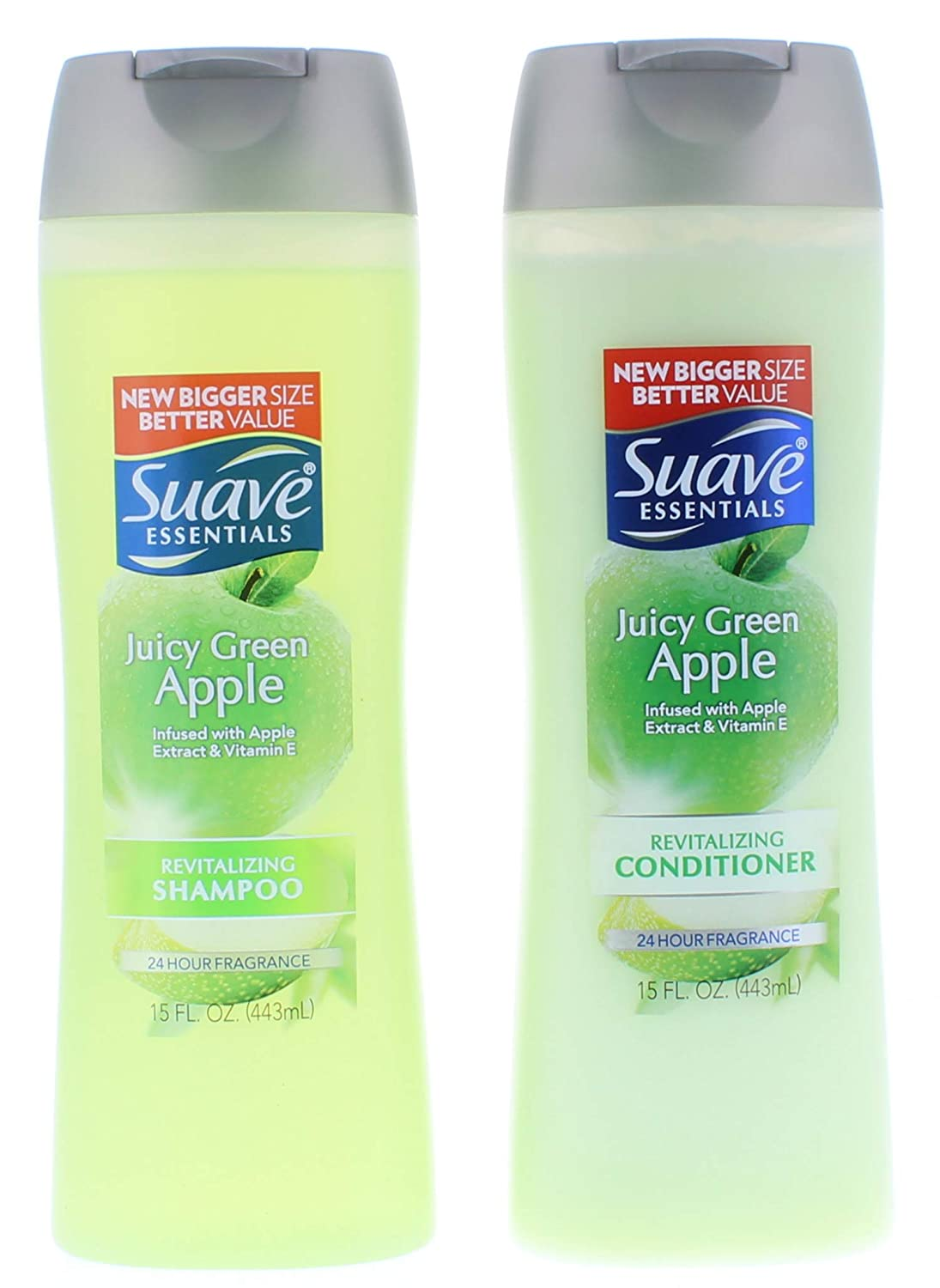Suave Essentials Juicy Green Apple Shampoo and Conditioner 15 Fl. Oz.