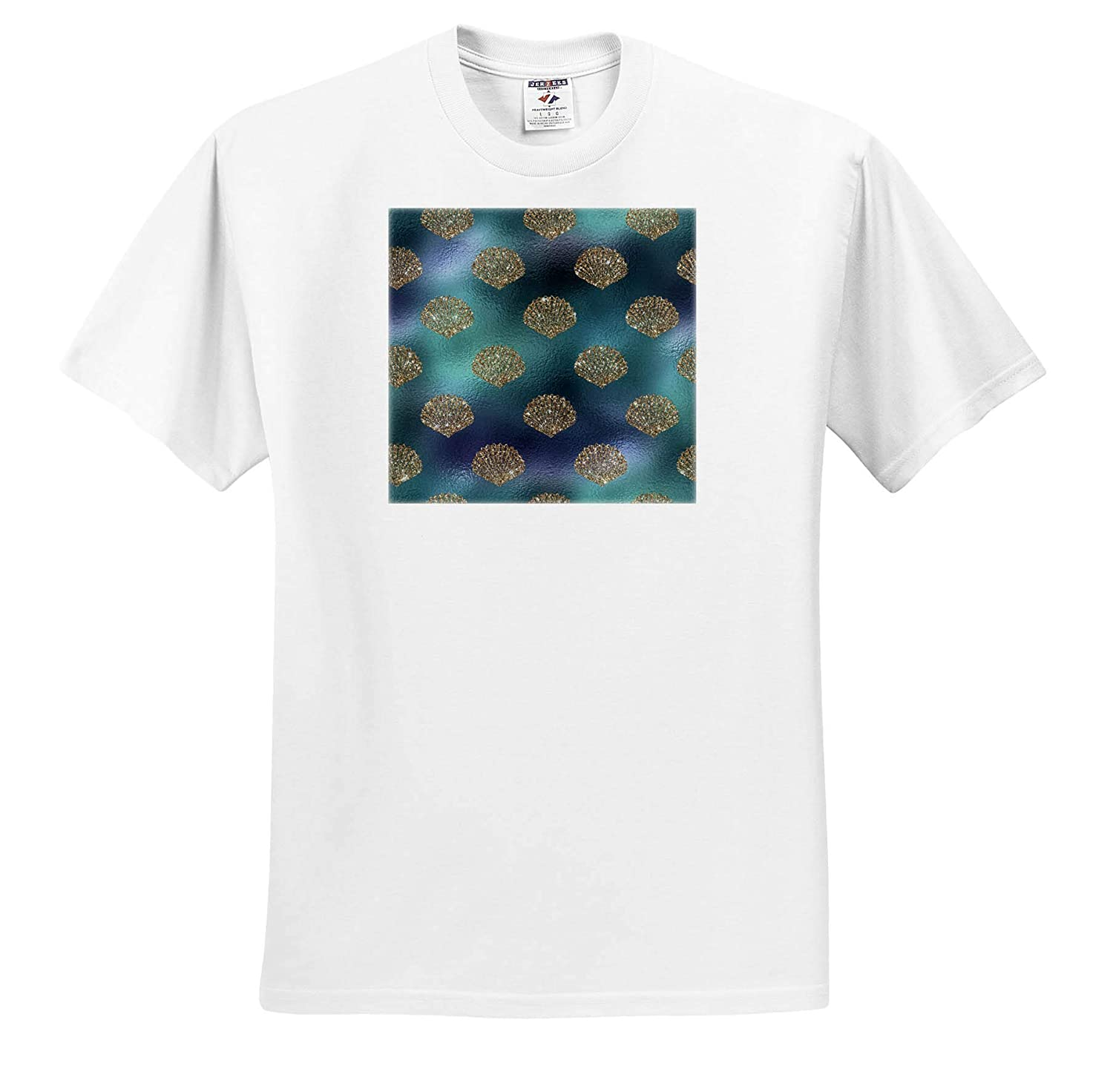 3dRose Anne Marie Baugh Pretty Blue and Silver Color Ocean Seashells Pattern Patterns T-Shirts