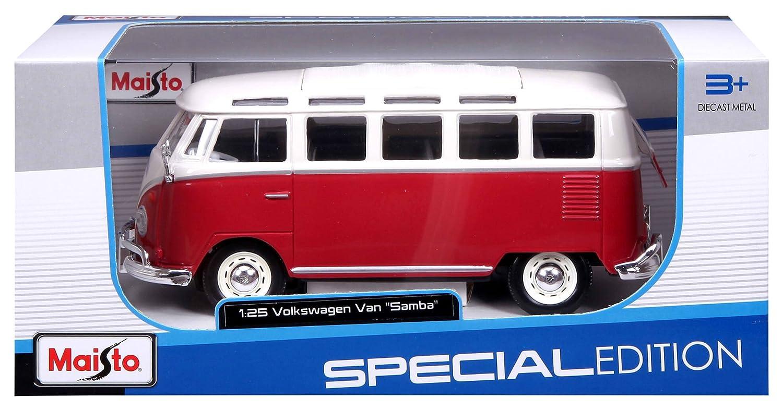 Amazon.com: Maisto 1:25 Scale Volkswagen Van Samba ~ Red and White