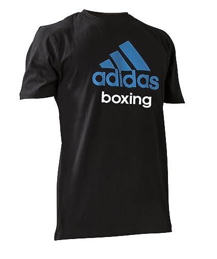 Adidas Community Line Boxing Short Sleeve T-Shirt - Small - Black/Solar Blue