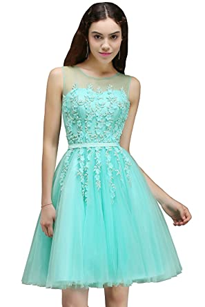 MisShow Womens Short Lace Appliques Homecoming Dresses 2017 Prom Gown,Mint,2