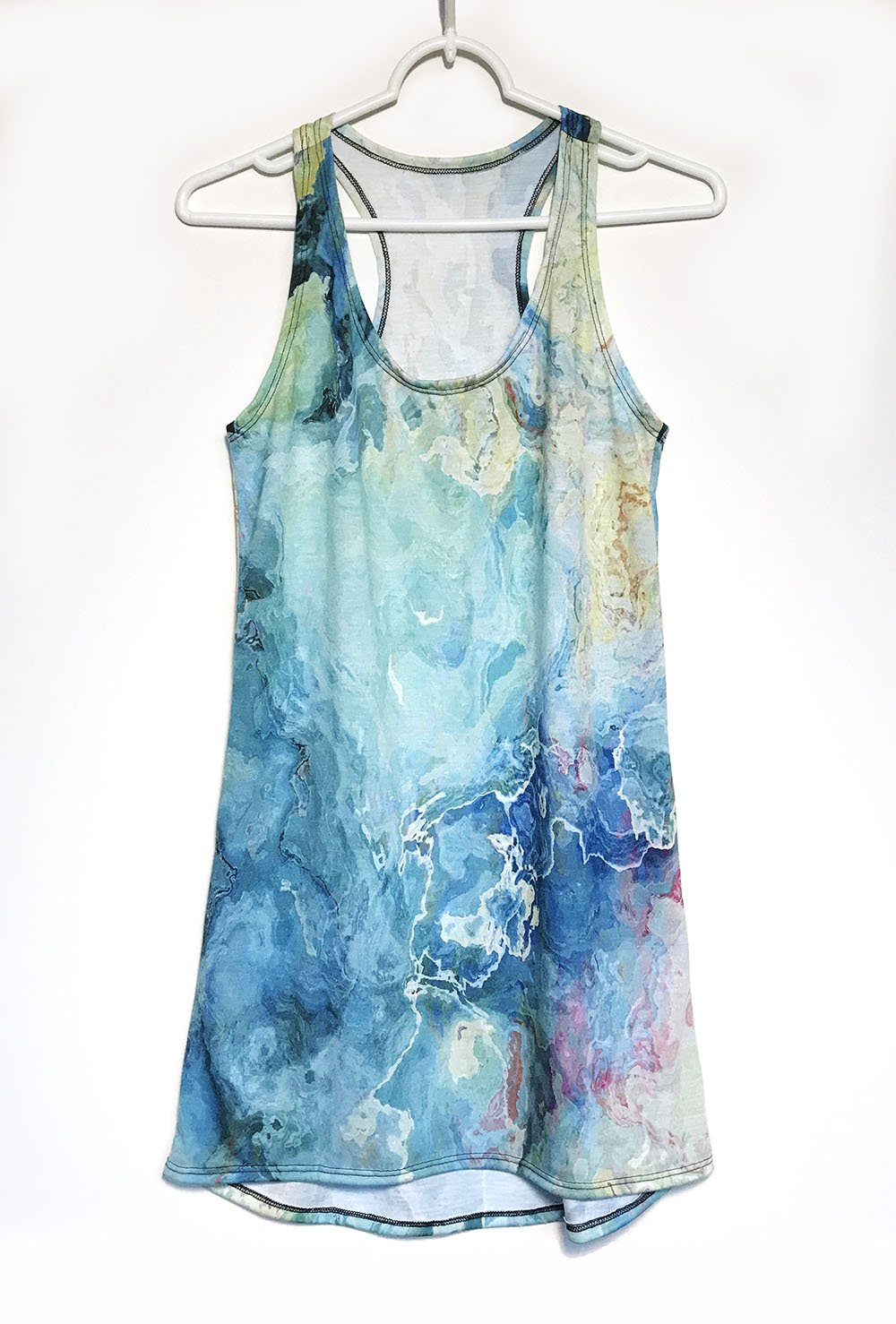 Racerback Mini Dress with wearable abstract art in aqua and cream, Cool as a Cucumber