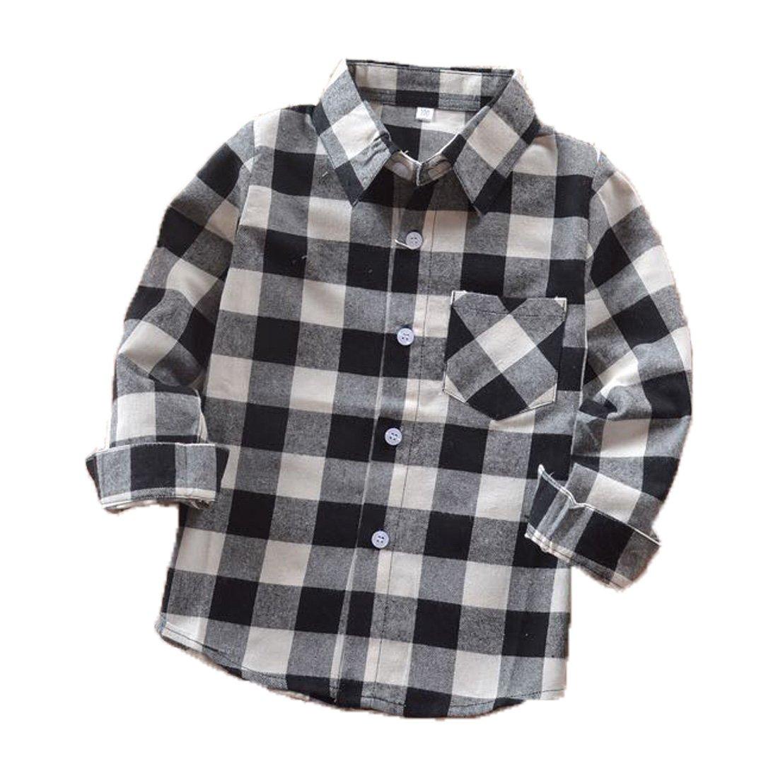 Rainlover Little Boys' Long Sleeve Button Down Plaid Flannel Shirt (5T, E004)