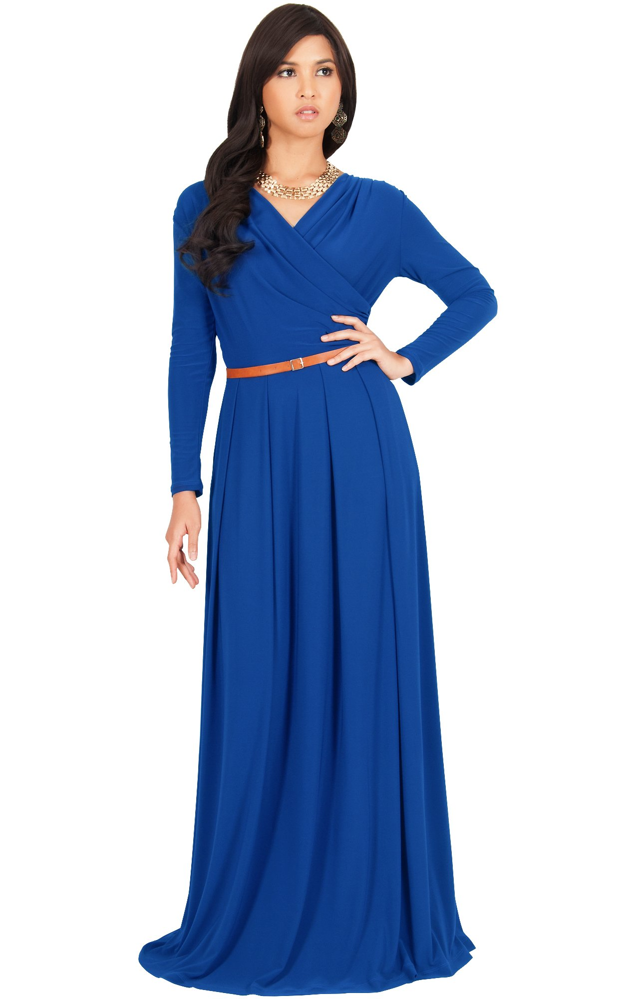 KOH KOH Womens Long V-Neck Sleeve Sleeves Fall Formal Flowy Floor Length Evening Casual Day Modest Abaya Muslim Gown Gowns Maxi Dress Dresses, Cobalt/Royal Blue L 12-14