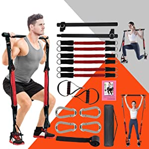 KIKIGOAL Upgraded Adjustable Pilates Resistance Band and Toning Bar 60IBS-180IBS Home Gym, Portable Pilates Total Body Workout, Yoga, Fitness, Stretch, Sculpt, Tone