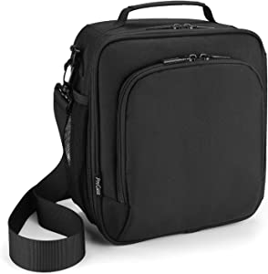 ProCase Lunch Bag Insulated Lunch Box for Men Women Adults Kids, Reusable Cooler Tote Bags Leakproof Lunch Container for Work Office School Picnic Hiking -Black