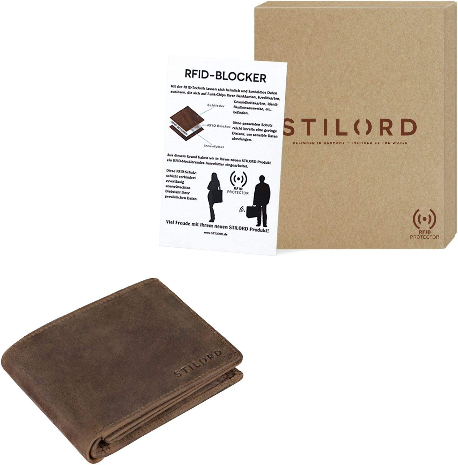 Couleur:Graphite STILORD Lennox Portefeuille RFID Blocking Cuir Porte-Monnaie Homme Poche /à Monnaie pour Carte de Cr/édit Wallet NFC Protection daffichage en Travers Gris