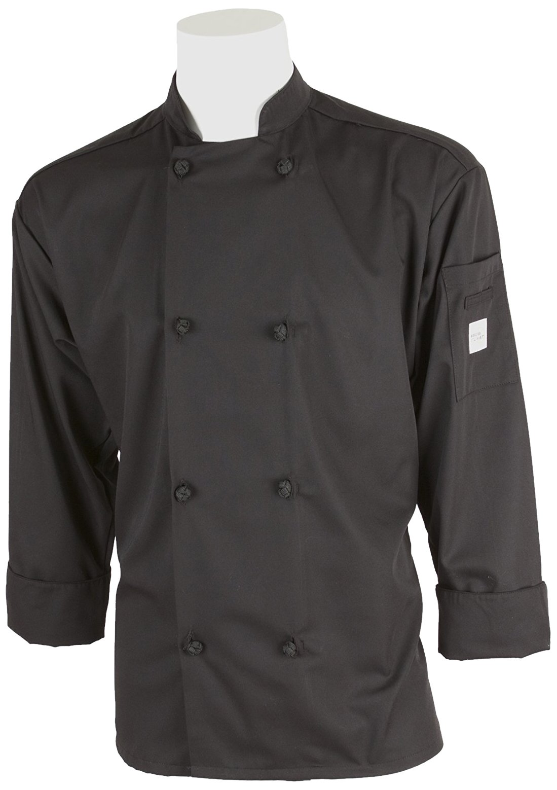 Mercer Culinary M60012BKM Millennia Men's Cook Jacket with Cloth Knot Buttons, Medium, Black by Mercer Culinary