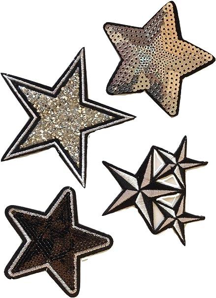 Patch écusson étoile or dorée 5,5 cm