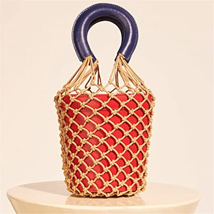 Women Net Bag Luxury Designer Bucket Handbags Fashion Hollow Out Leather  Tote Summer Travel Beach Bag 5c687ad55f