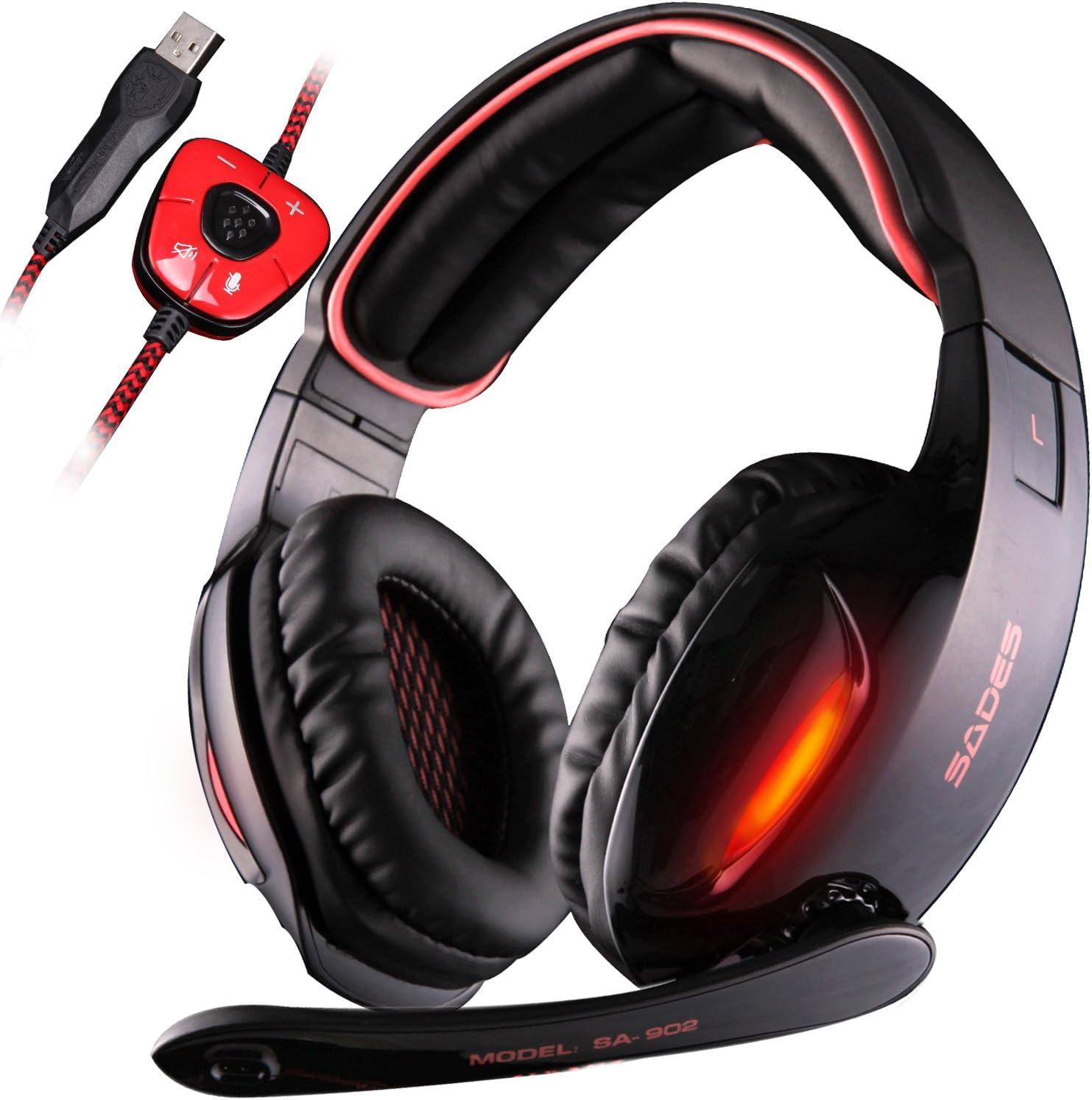 SADES SA 902 7.1 de sonido envolvente estéreo Pro USB PC Gaming Auriculares Cinta de cabeza de los auriculares con micrófono Deep Bass Over-the-Ear Control de volumen de las luces LED para jugadores d