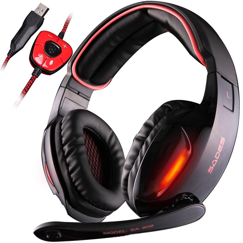 SADES SA902 - Cuffie da Pro Gaming USB con Suono Surround 7.1, Microfono, Deep Bass, Controllo del Volume (Nera)