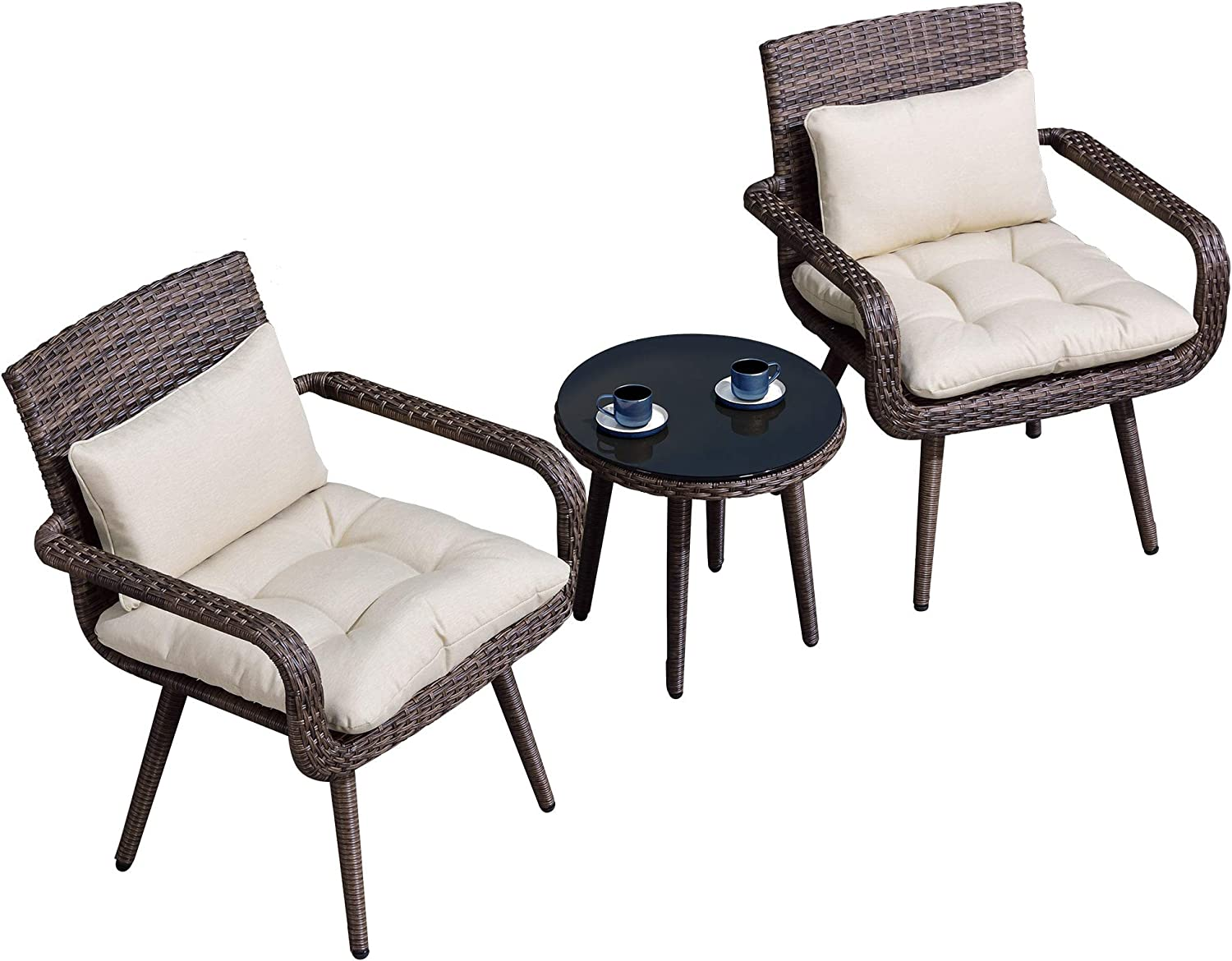 PURPLE LEAF Outdoor Patio Furniture Sets, 3 Piece Patio Set Outdoor Bistro Set, Patio Moden Wicker Chairs and Tempered Glass Side Table