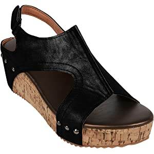 1d77007db6f Syktkmx Womens Cutout Open Toe Platform Wedges Slingback Ankle Strap Cork Heeled  Sandals