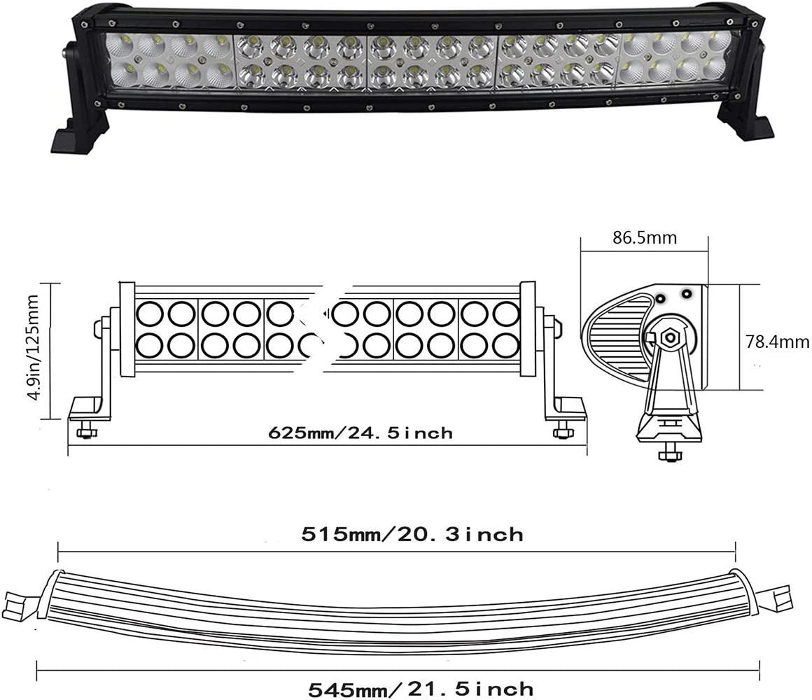 Willpower 50 inch Curved LED Light Bar 288W Double Spot Flood Combo Led Driving Fog Work Lightbar with Mounting Bracket for 4x4 Off Road Boat SUV UTE ATV Truck