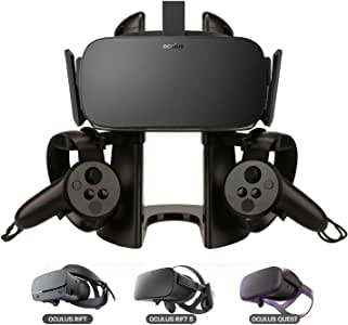DELAM VR Stand, Virtual Reality Headset and Controllers Display Holder, VR Headset Stand Compatible with Oculus Rift/Oculus Rift S/Oculus Quest Headset and Touch Controller Accessories