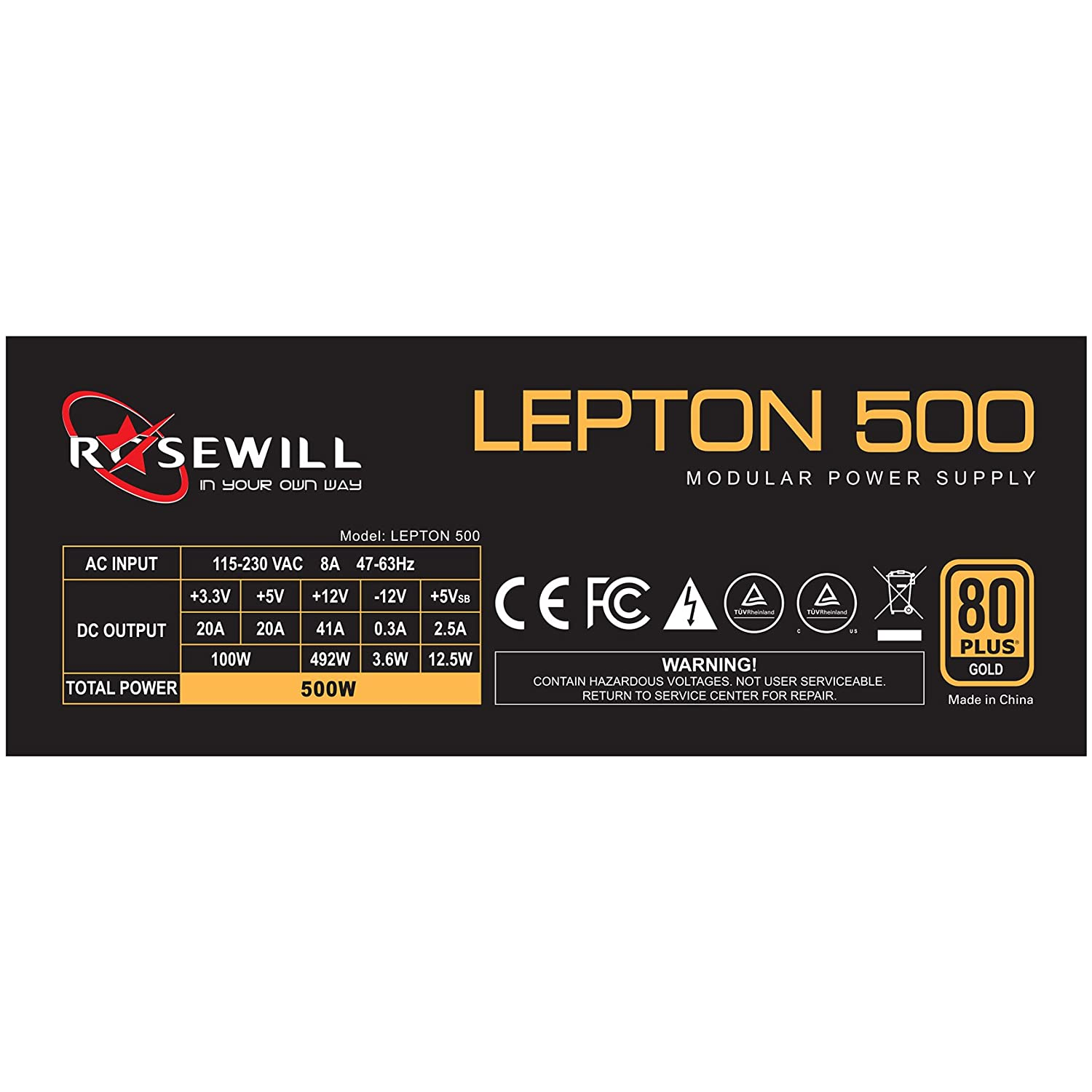 Rosewill Computer Modular Power Supply 80 Plus Gold Atx Schematic Diagram Additionally 500w Gaming Psu 12v 3 Year Warranty Lepton 500 Computers Accessories