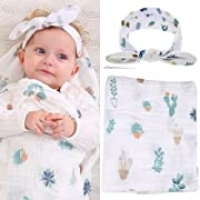 Baby Muslin Swaddle Blankets and Headband Set Baby Cotton Swaddle Wrap Stroller Cover Receiving Blanket (Set D - Cactus)