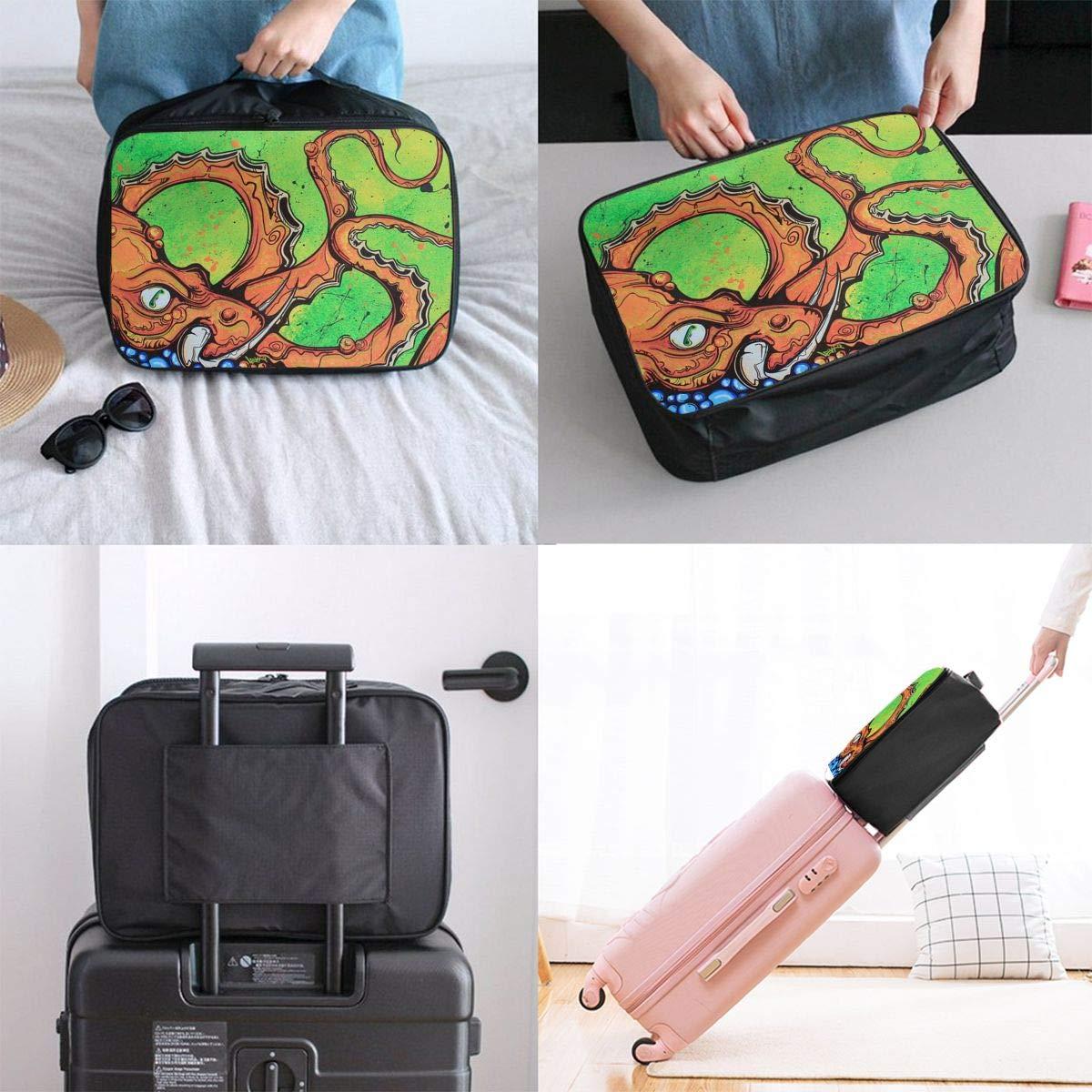 Travel Luggage Duffle Bag Lightweight Portable Handbag Cartoon Octopus Large Capacity Waterproof Foldable Storage Tote