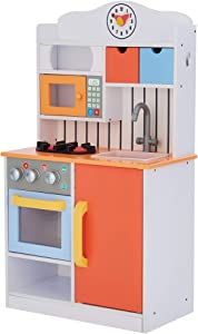 Teamson Kids Little Chef Florence Classic Kids Play Kitchen Toddler Pretend Play Set with Accessories, 2 Drawers, and Clock Coral Red Twilight