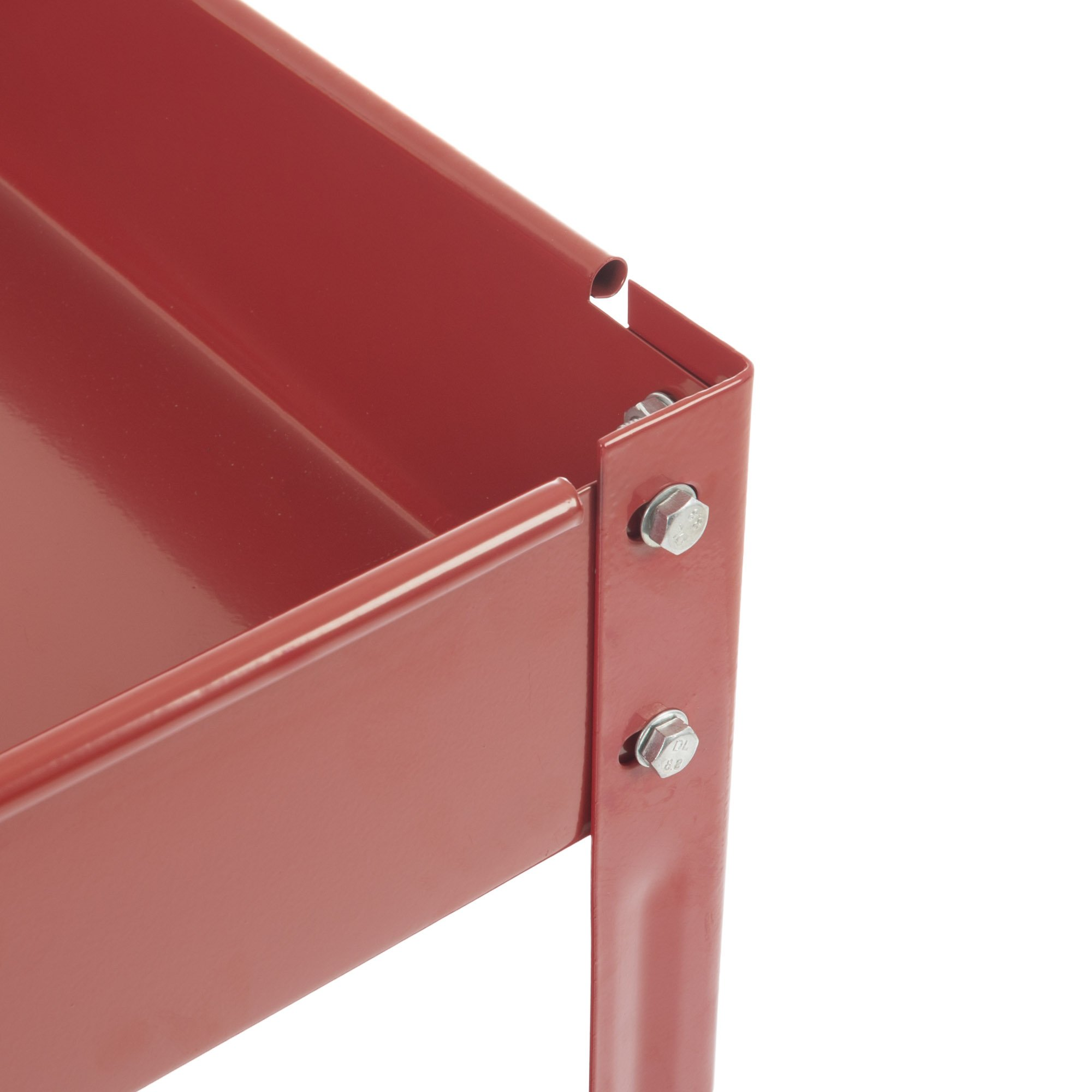 Metal Service Utility Cart, Heavy Duty Supply Cart with Two Storage Tray Shelves- 330 lbs Capacity By Stalwart (Red) by Stalwart (Image #3)