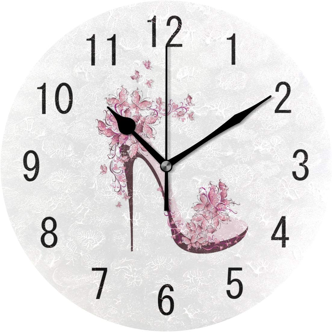 ALAZA Home Decor Shoes on High Heel with Butterfly Round Acrylic 9 Inch Wall Clock Non Ticking Silent Clock Art for Living Room Kitchen Bedroom
