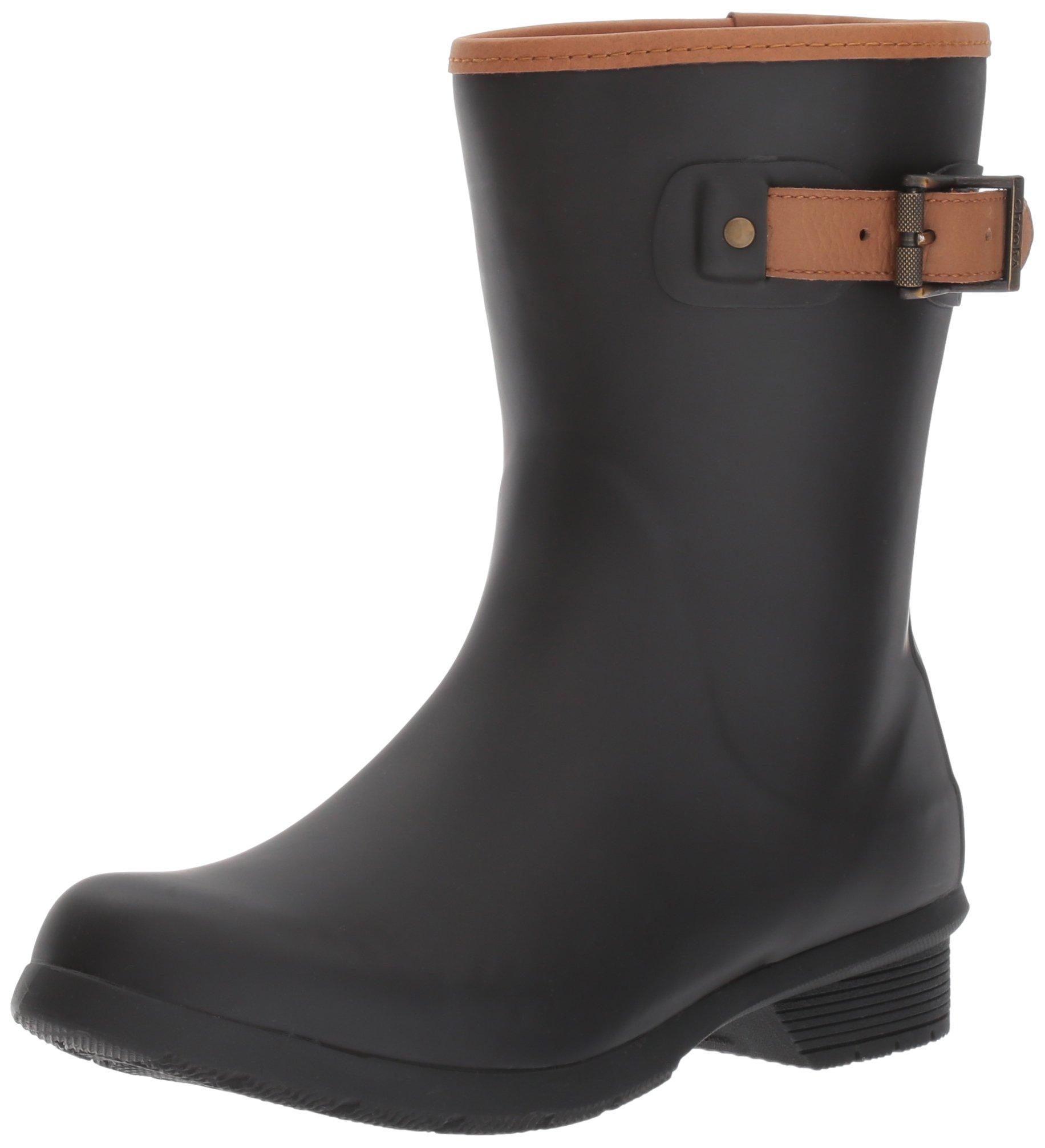 Chooka Women's Mid-Height Memory Foam Rain Boot, Black, 8 M US