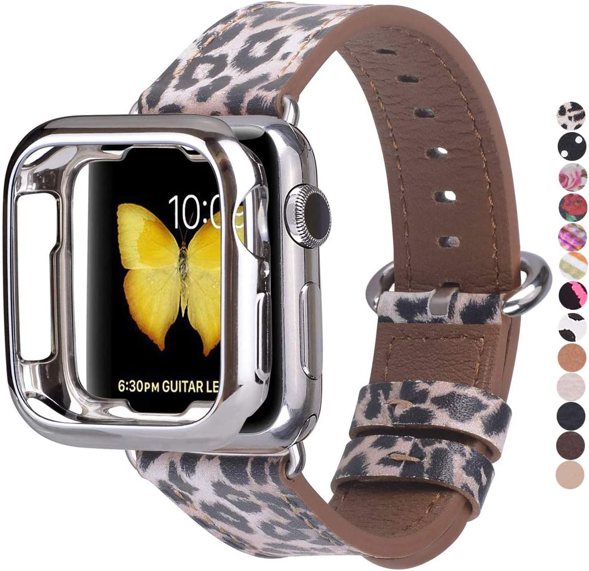 JSGJMY Compatible with Apple Watch Band 38mm 40mm with Case,Women Genuine Leather Strap with Silver Adapter and Buckle for iwatch Series 5/4/3/2/1, Leopard Printed