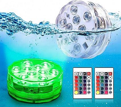ZJJ 7 Color Swimming Pool Luminaire 12V Submersible LED Pond Lighting Waterproof IP68 Underwater Aquarium Lamp Night Lamp for Outdoor Indoor,12W