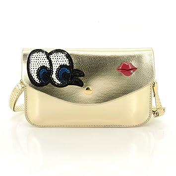 5d6c74531c0 U-TIMES Women's Sequin Embroidery Eyes Red Lip Pattern PU Leather Flip Snap  Shoulder Bag