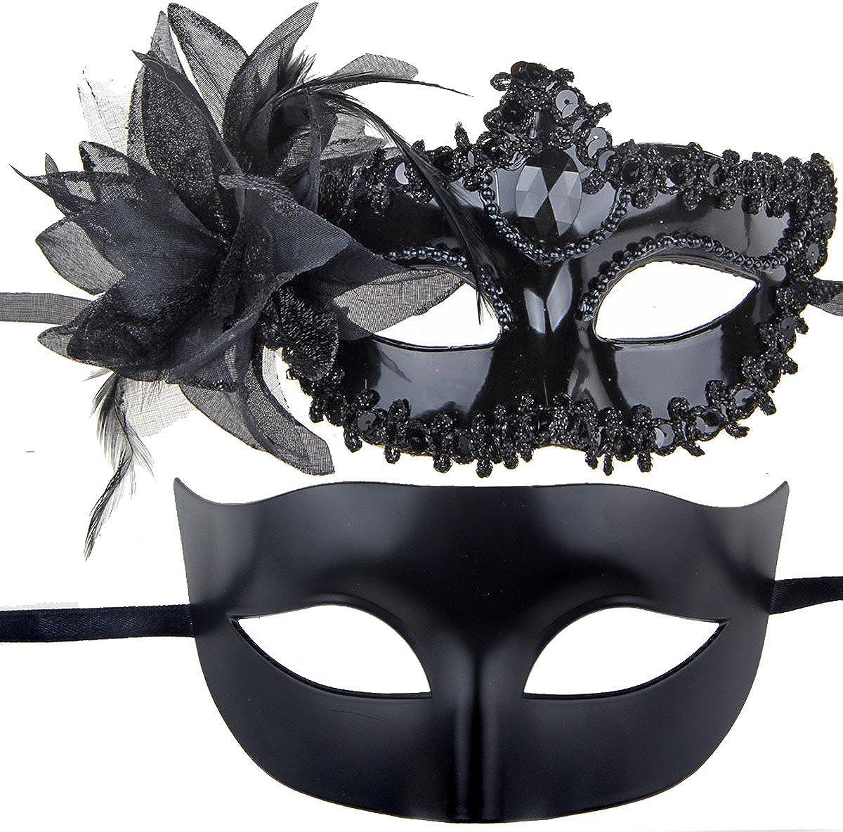 BLACK IETANG Couples Pair Half Venetian Masquerade Ball Mask Set Party Costume Accessory