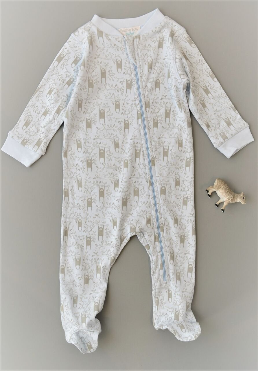 Feather Baby Boys Clothes Pima Cotton Long Sleeve Zipper Sleep 'N Play Footie Coverall Romper, 3-6 Months, Sloth-Grey on Baby Blue by Feather Baby (Image #2)