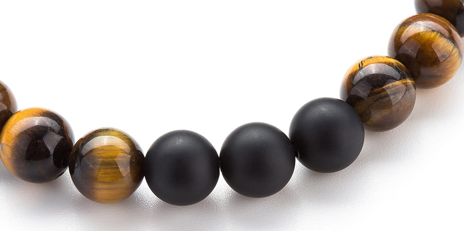 Hamoery Men Women 8mm Tiger Eye Stone Beads Bracelet Elastic Natural Stone Yoga Bracelet Bangle-21003